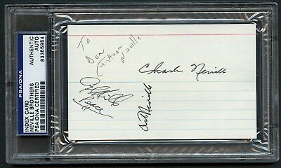Aaron Neville & Brothers signed autograph auto 3x5 index card PSA Slabbed