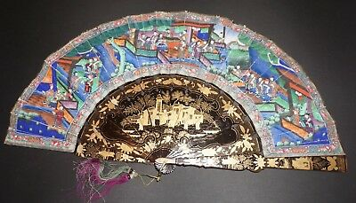 Antique Chinese Export Gold Lacquer Hand Painted 1000 Faces Court Scenes Fan