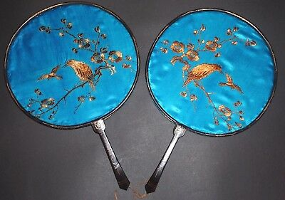 2 Fine Antique Chinese Hand Embroidered Silk Lacquer Pien Mien Screen Fan Fans