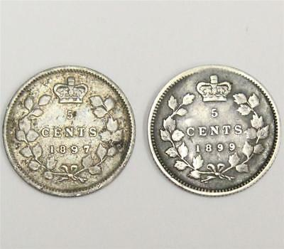 1897 and 1899 Canada 5 cents silver coins VG10