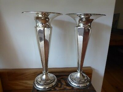 Vintage silver Alpha plated trumpet vases HB&H pair