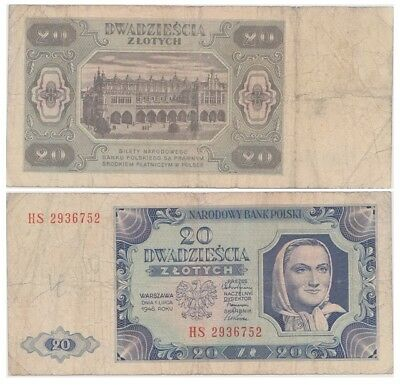 2o Zlots Polish banknote issued in 1948 HS ff