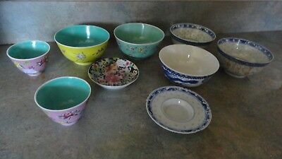 9 pcs chinese bowl cups old lot mark signed vintage china mix age small plate