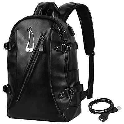 15   Leather Laptop Backpack Anti-theft Travel Daypack School Bag With Usb Port,