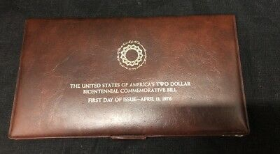 U.S.A. Two Dollar Bicentennial Commemorative Bill First Day of Issue 4/13/1976