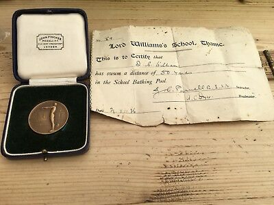 Vintage Swimming Medal, Pinches, 1936, Lord Williams School Thame & Certificate