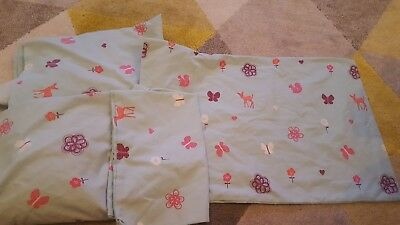 Next baby cot bed fitted sheets and pillowcases x2 woodland.