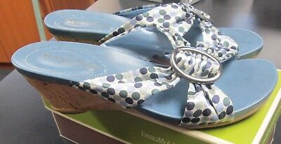 91d3d23a3956 New Womens Naturalizer Blue Multi-Colored Sandals Wedge Heel Sz 7 In Box