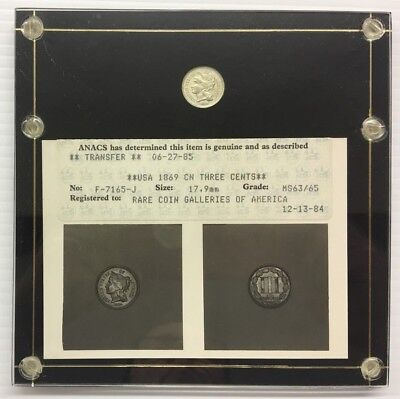 Anacs Photo Certified 1869 Three Cent Coin Ms 63 / 65 U.s. Coin * Free Ship