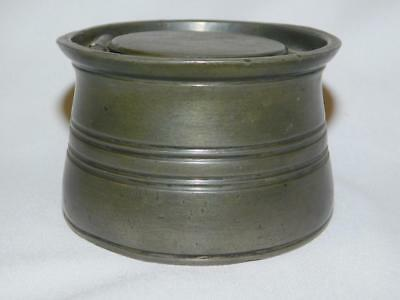 Antique PEWTER VICTORIAN INKWELL V R Crown Mark Pottery Ink Pot Queen Victoria