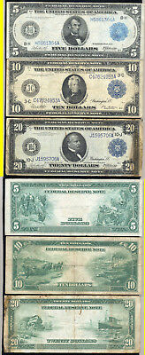 Lot Of 3 Large Size Notes- 1914 $5.00- 1914 $10.00- 1914 $20.00- No Reserve
