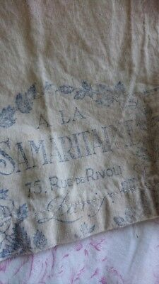 ADORABLE ANTIQUE FRENCH LINEN CHEMISE WITH BOLT END SHOP STAMP c1900