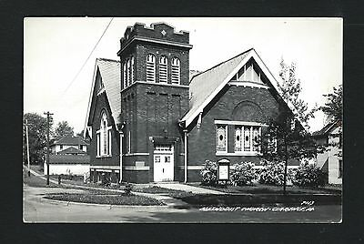 Clarence Iowa IA c1939 RPPC Methodist Church on Corner, Card # P113, L L Cook Co