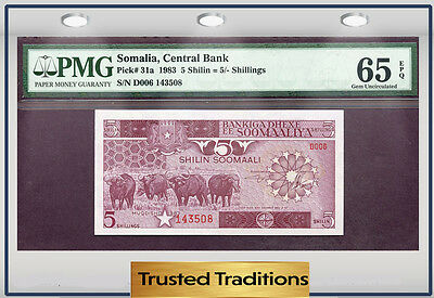 "TT PK 31a 1983 SOMALIA CENTRAL BANK 5 SHILIN=5/ SHILLINGS ""BUFFALOS"" PMG 65 EPQ!"