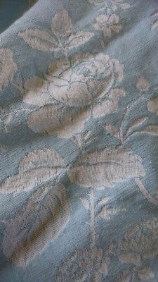 GORGEOUS MORCEAU ANTIQUE FRENCH SOFT BLUE ROSES DAMASK TICKING c1930