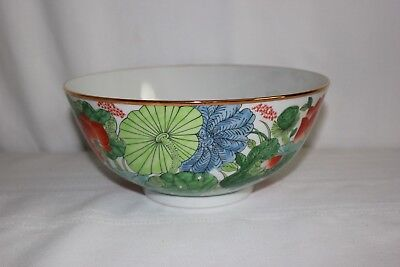 Vintage Japanese Large Ceramic Floral Serving Bowl Gumps Japan