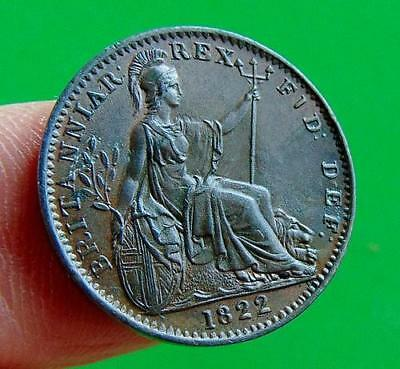 CRACKING  UNCIRCULATED  GEORGE  IV  * 1822 *   FARTHING  1/4d ...LUCIDO_8  COINS
