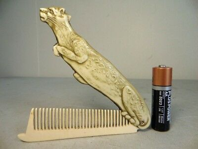 Beautiful Rare & Early Phenolic Art-Deco PURSE COMB PANTHER - MADE IN FRANCE