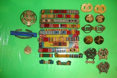 Lot Of Miscellaneous Military Ribbons Bars Pins Medals Group Suite