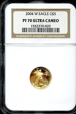 Amazing 2004-W NGC PF 70 Ultra Cameo Gold $5 Eagle Coin 91.67% Gold FB380