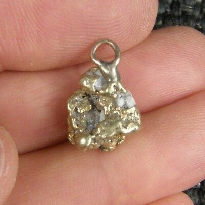 Large 3.3 Grams Natural Solid Gold Nugget with Quartz Pendant