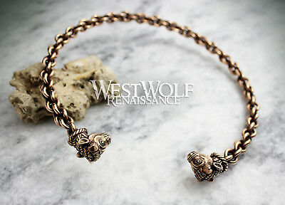 Celtic Bull's Head Torc - Solid Bronze -- Viking/Norse/Gaelic/Neck Ring/Necklace