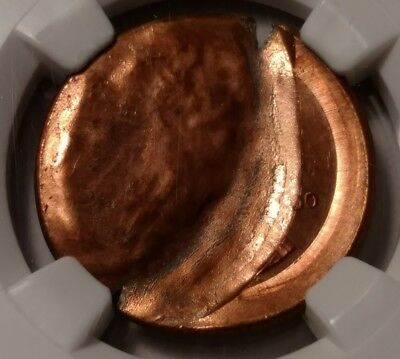 2000 Lincoln cent broadstruck with obverse brockage ngc ms66 rd 573