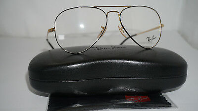 RAY BAN RX Eyeglasses New Authentic Aviator Black Gold RX6489 2946 55 140