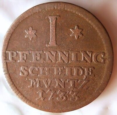 1733 GERMAN STATES (BRUNSWICK-HANOVER) PFENNIG - VERY Rare Coin - Lot #A18