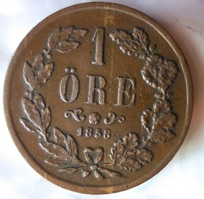 1858 SWEDEN ORE - Excellent Early Date Coin - Lot #A18