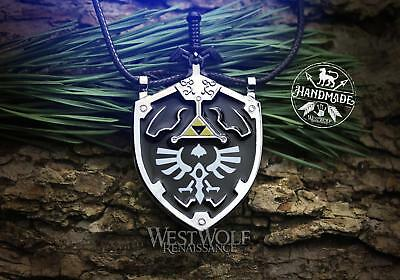 Legend of Zelda Master Sword and Shield Pendant - Link's Hylian Knight Necklace