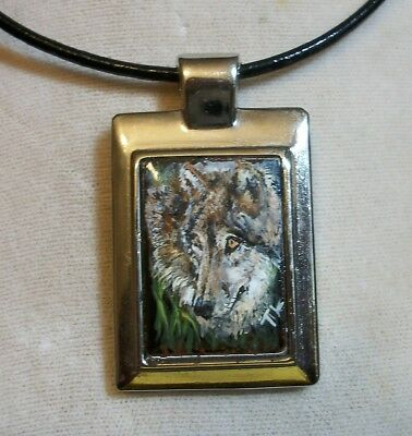 Hand Painted Wolf / Wolves Pendant Necklace, black leather chain