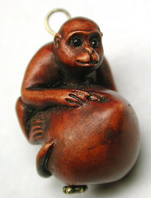 """Hand Carved Wood Pin Shank Button or Pendant Monkey w/ Fruit Design - 1"""""""