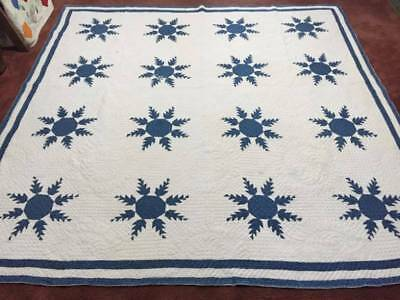 "Turn of the Century Blue & White ""Feather Star"" Antique Quilt"