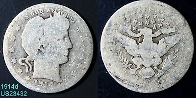 1914-D Barber Quarter circulated silver coin from Denver mint