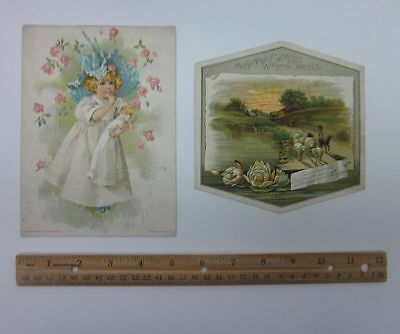 (2) 1800's Advertising Trade Cards Lion Coffee Woolson Spice Girl w/Doll bv5676