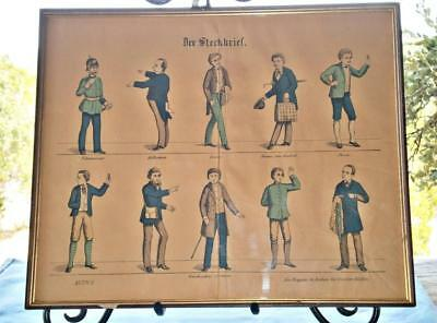 Antique Unique Framed Lithograph Of 10 German Men In 1800s Professional Clothes