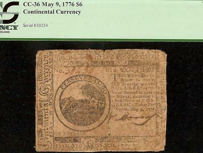 1776 $6 Dollar Bill Continental Congress Currency United States Note Cc-36 Pcgs