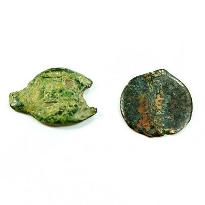 Lot of 2 Uncleaned Ancient Roman Widows Mites - One is Marcus Ambibulus rm2254