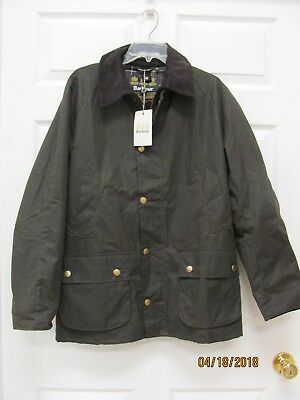 NWT Barbour ASHBY Jacket Men's M Olive Waxed Cotton Tartan Lining