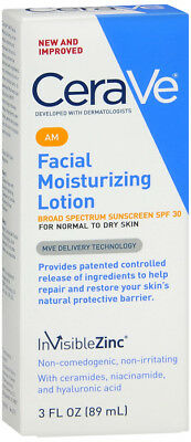 CeraVe AM Facial Moisturizing Lotion SPF 30 3 oz with Broad Spectrum protection,