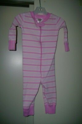 Hanna Andersson two tone pink stripes organic cotton sleeper-70   9 to 18 months