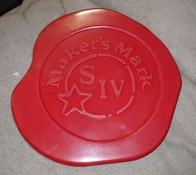 Makers Mark Red Wax Signature Coaster Stamped Logo MAROON RED S IV RUBBER RARE