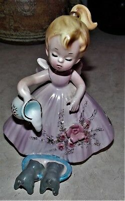 Vintage Josef Originals Girl Pouring Milk Dish Kittens Dogs Pink Dress Figurine
