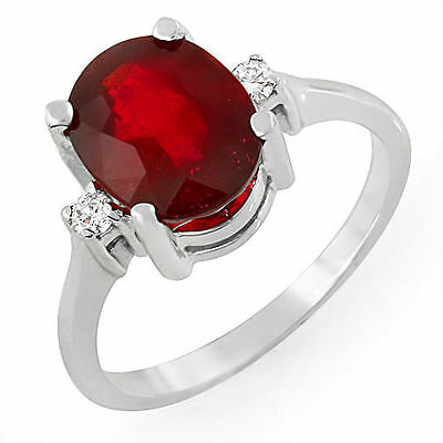 Estate ring 3.8 ct natural ruby and diamond 14k gold