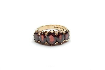 Victorian Style 5 Stone Garnet Ring 9 ct Gold carved setting size K