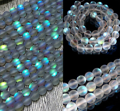 Natural 6/8/10mm White /Gray Gleamy Rainbow Moonstone Round Loose Beads 15'' AAA