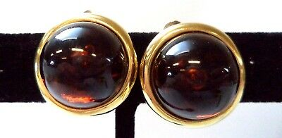"Stunning Vintage Estate Black Brown Cab Gold Tone 7/8"" Clip Earrings!!!! 8901W"