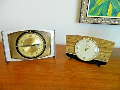 Vintage Retro Mid Century Metamec Mantle Clock + Smith's Floating Balance Clock
