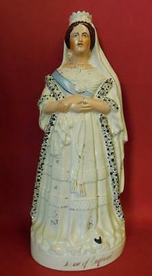 C1850 Staffordshire Pottery Flat back Figurine Queen Victoria